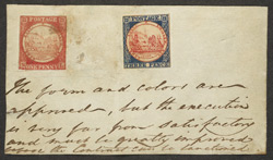 New South Wales: 1850 1d and 3d essays of the Sydney View issue.